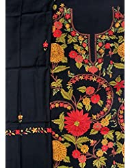 Exotic India Jet-Black Salwar Kameez Fabric From Kashmir With Ari Hand-E - Black