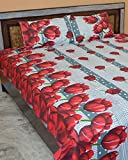 Famacart Double Bedsheets Rose Printed Decorative Bedsheets Pillow Covers