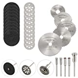 DAYREE 30pcs Cutting Wheel Set 1/8 Inches Shank Diamond Cutting Disc Mini HSS Saw Blades and Resin Metal Cutting Wheels Disc Tools with Mandrel & Screwdriver for Dremel Rotary Tools (Color: Cutting Wheel Set)