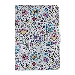 Case for iPad Mini,Stand Case for iPad Mini 2,Flower Case for iPad Mini 3,IKASEFU(TM)Colorful Painting Butterfly Flower Star Heart Series Soft Inner Skin Leather Protective Stand Case Cover for Apple iPad Mini / iPad Mini 2 / iPad Mini with Retina Display/ iPad Mini 3 (2014 Release)(Printed Flower)