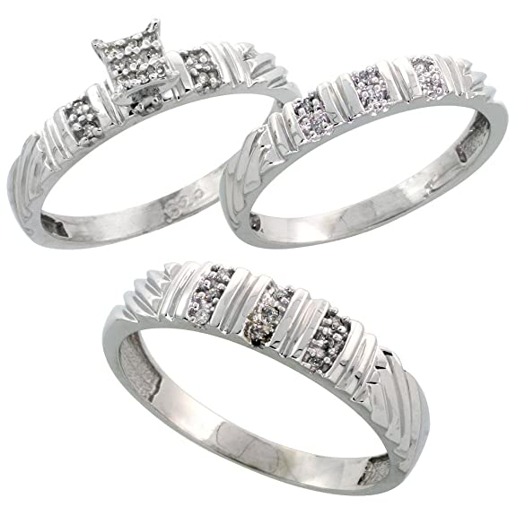 Sterling Silver 3-Piece Trio Diamond Wedding Band Set, His (5mm) & Hers (3.5mm)