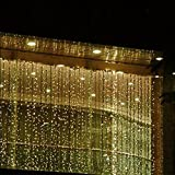 Fuloon 10M x 3M 1000 LED Outdoor Party christmas xmas String Fairy Wedding Curtain Light 8 Modes for Choice 110V (Warm White)