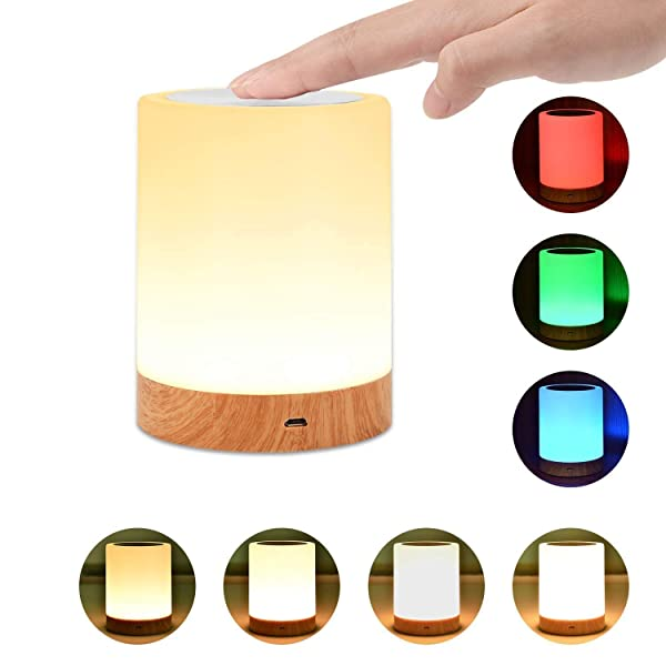 Night Light, UNIFUN Touch Lamp for Bedrooms Living Room Portable Table Bedside Lamps with Rechargeable Internal Battery Dimmable 2800K-3100K Warm White Light & Color Changing RGB (Color: Rgb (Red, Green, Blue))