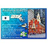 MASSACHUSETTS STATE FACTS postcard set of 20 identical postcards. Post cards with MA facts and state symbols. Made in USA.