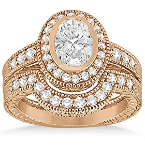 Allurez - Halo Diamant-Verlobungsring & Band 14k Rose Gold Brautsatz 0.64ct