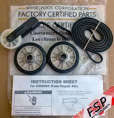 OEM Factory Original FSP Whirlpool Dryer Kit Part # 4392065, with Belt 341241, Idler 691366, Rollers 349241t Model: (Whirlpool Part 349241t compare prices)