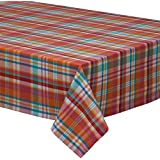 "DII 100% Cotton, Machine Washable, Dinner, Summer & Picnic Tablecloth 52x52"", Sherbet Plaid, Seats 4 People"