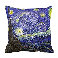 Popeven Starry Night Famous by Vincent Van Gogh Throw Pillow Case 18 x 18 inch Decorative Accent Pillowcase from popeven