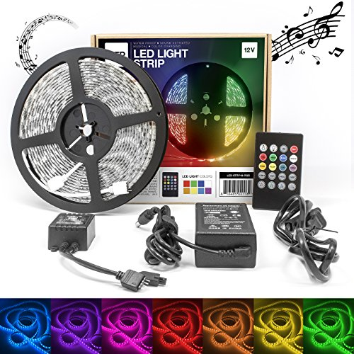 LED Concepts Strip Lights Colored Led Rope Lights for Indoor and Outdoor Decoration Music Controlled Waterproof LED Lights (300 LEDs, RGB, 20 Key, 16.4ft) (Led Light Strips Music compare prices)
