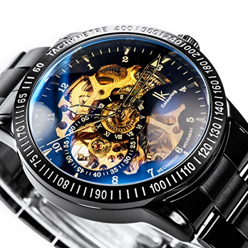 Alienwork IK mechanische Automatik Armbanduhr Skelett schwarz 98226-12 2
