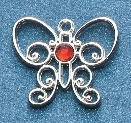 Pack of 8 Jeweled Silver Scroll Butterfly January Birthstone Pins 1