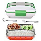 SUPOW Lunch Box, Portable Electric Heating Lunch Warmer Box with Removable Stainless Steel Container Food Heater for Home and Office Use, 110V (Green) (Color: Green)