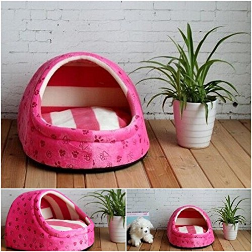 1 Pcs Superior Popular Pet Half Covered Bed Size M Sweet Style Dog Furniture Puppy Tent Color Type Rose Pink