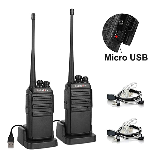 Radioddity GA-2S Long Range Walkie Talkies UHF Two Way Radio Rechargeable with Micro USB Charging + USB Desktop Charger + Air Acoustic Earpiece with Mic, 2 Pack (Color: Black)