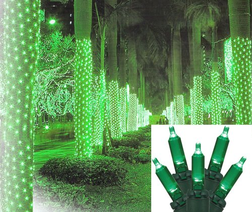2' X 8' Green Led Net Style Tree Trunk Wrap Christmas Lights - Green Wire
