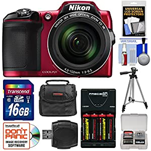 Nikon Coolpix L840 Digital Camera (Red) with 16GB Card + Batteries/Charger + Case + Tripod Kit (Certified Refurbished)