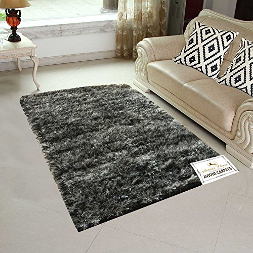 Avioni Handloom Rugs For Living Room In Fur Reversible Black N White-3 Feet X 5 Feet
