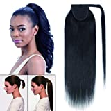 100% Remy Human Hair Wrap Around Tie Up Ponytail Clip in/on Drawstring Binding Hair Extension One Piece Straight Highlights Ribbon Pony Tail Hairpieces for Woman #01 Jet Black 16 inches 80g (Color: Jet Black, Tamaño: 16