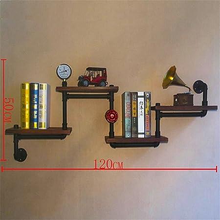 LIUYU Rack per pareti in tubo d'acqua Display creativo a parete Rack per scaffale in legno massiccio,120 * 20 * 50cm
