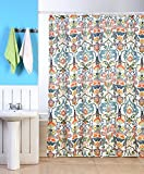 "Emery Fabric Shower Curtain, 70""x70"", Colorful Floral Geometric Printed Design"