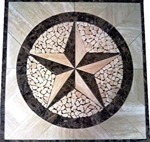 Tile Floor Medallion Marble Mosaic Texas Star Design 24x24