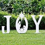 Teak Isle Christmas Joy Nativity Yard Sign (Color: White)