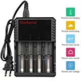 4 Bay 18650 Battery Charger Intelligent Li-ion Charger for Rechargeable Battery 26650, 18650, 17670, 18490, 17500, 17335, 16340 (RCR 123), 14500, 10440, 14650, 18350, 18500.
