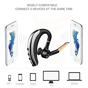 Bluetooth Headset with Carrying Case,V4.1 Hands Free Wireless Business Bluetooth In-ear Earpiece Lightweight Earbuds with Mic for iPhone and Android Cell Phones (Gold)