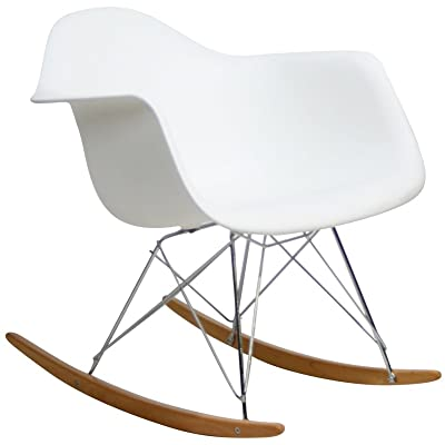 Modway Molded Plastic Armchair Rocker in White