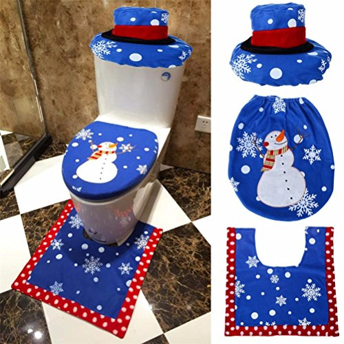 Pack of 3 Bathroom Set Christmas Decor Toilet Seat Cover ,Elaco New Fancy Santa and Rug (B)