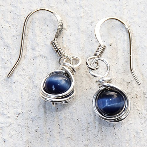 Casual Wear Navy Blue Drop Earrings - Handmade Wire Wrapped Jewelry (Handmade Wire Jewelry compare prices)