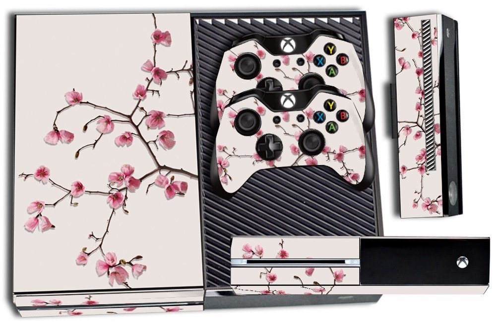 Designer Skin Sticker for the Xbox One Console With Two Wireless Controller Decals Cherry Blossoms