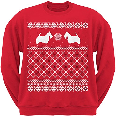Scottish Terrier Red Adult Ugly Christmas Sweater Crew Neck Sweatshirt - Small