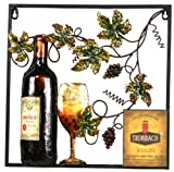 River Cottage Gardens A03073/4-UPS Metal Construction Wine and Leaf Wall Plaque