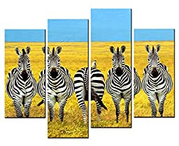 Canval prit painting Animal Wall Art five Zebras Stand in a Line on the Yellow Grassland in Autumn 4 Panel Picture on Canvas