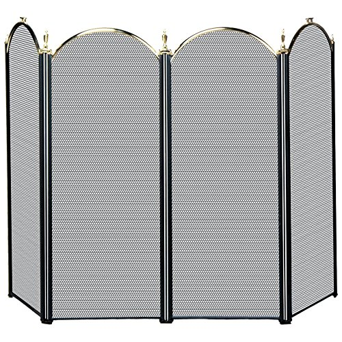 UniFlame 4 Fold Polished Brass and Black Fireplace Screen (Blue Rhino Fireplace Screen compare prices)