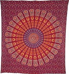Luna Bazaar Anita Bohemian Mandala Tapestry, Wall Hanging, and Bedspread (Large, 7 X 8 Feet, Red and Orange, 100% Cotton, Fair Trade Certified)