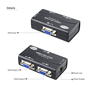 VGA Splitter 2 Port USB Powered Support 1920X1400 Resolution 250MHz Bandwidth for Screen Duplication (Color: 2 port 250MHz)