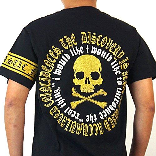 スカル Tシャツ 半袖 オラオラ 悪羅 クルー Vネック ラインストーン ストリート FLT2302M M ブラックA