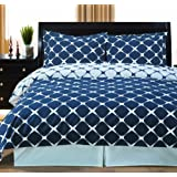 Full / Queen Bloomingdale 3pc Duvet Cover Set Navy & White
