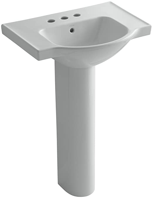 KOHLER K-5266-4-95 Veer Pedestal Bathroom Sink with 4-Inch Centerset Faucet Holes, 24-Inch, Ice Grey