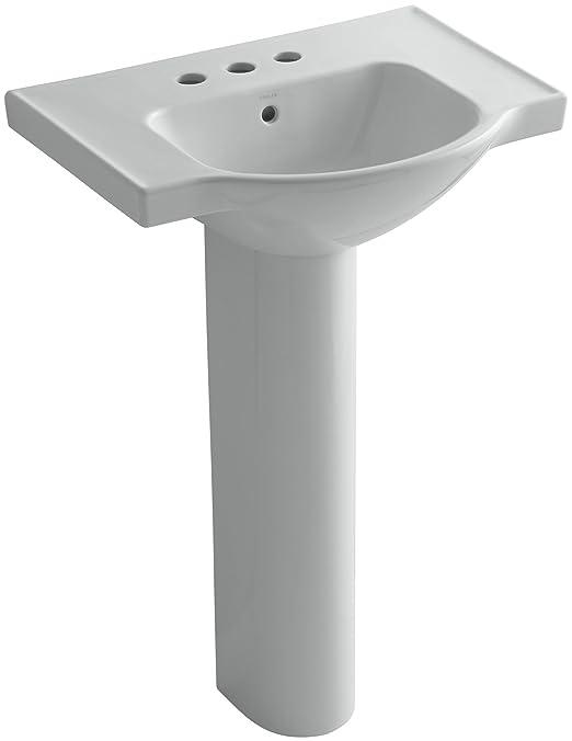 KOHLER K-5266-4-95 Veer Pedestal Bathroom Sink with 4-Inch Centerset Faucet Holes, 24-Inch, Ice Grey