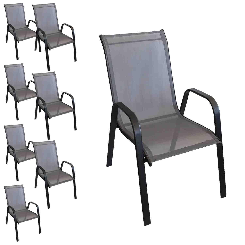 8 Stück Stapelstuhl Stapelsessel Gartenstuhl Gartensessel stapelbar Stahlgestell pulverbeschichtet mit Textilenbespannung Balkonmöbel Gartenmöbel Terrassenmöbel Schwarz / Anthrazit