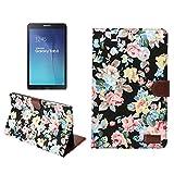 PT Tab E 9.6 Case-Premium Flower Design Folio Leather Stand Cover Case For Samsung Galaxy Tab E 9.6 inch Tablet (SM-T560 / T561 / T565 & SM-T567V Verizon 4G LTE)black (Color: black)