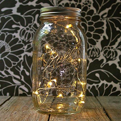 Mason Jar Light, 32 Oz. Quart, Warm White Led Battery Fairy Lights