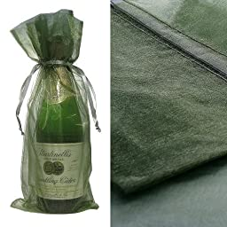 10x Green Bottle & Wine Organza Favor Gift Bags 6.5x15 inch ($0.94 each) by Ameba Concept