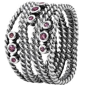 Pandora Damen-Ring 925 Sterling Silber Rhodolith rosa Gr.54 (17.2) 190863RHL-54