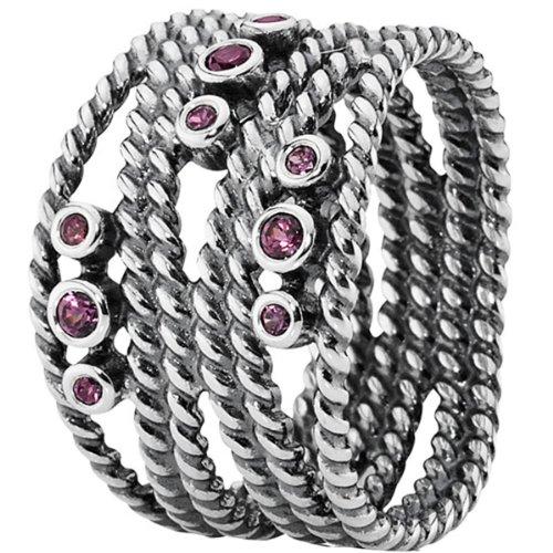 Pandora Damen-Ring 925 Sterling Silber Rhodolith rosa 190863RHL