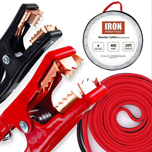 20 Foot Jumper Cables with Carry Bag - 4 Gauge, 400 AMP Booster Cable Kit (Car Battery 800 Cca compare prices)