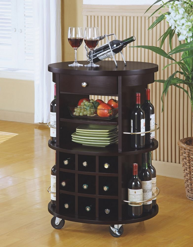 Merveilleux Monarch Specialties Round Bar Serving Cart With Wine Storage, Cappuccino
